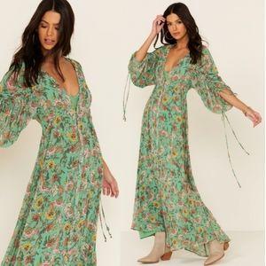 Free People Boho Maxi Dress Floral Green XS or XL